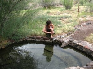 Jaya at the Goddess/Guitar pool at Eden Hot Springs, in Arizona.